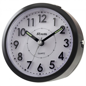 Round 3D Numbers Alarm Clock - Black