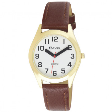 Men's Super Bold Easy Read Expander Watch - Gold Tone / Brown