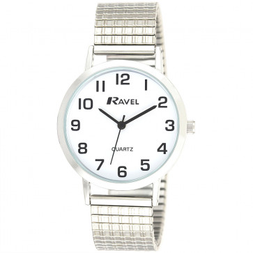 Men's Traditional Expander Watch - Silver Tone / White