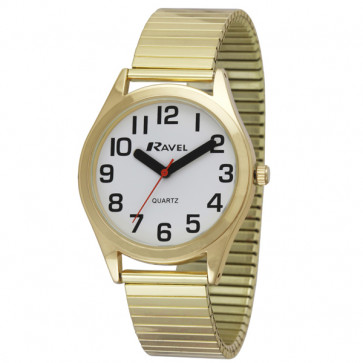 Men's Super Bold Easy Read Expander Watch - Gold Tone / White