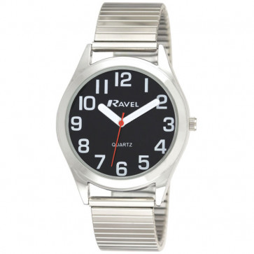 Men's Super Bold Easy Read Expander Watch - Silver Tone / Black