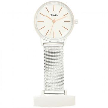 Nurse's Mesh Fob watch - Silver Tone / Rose Gold Tone Highlights