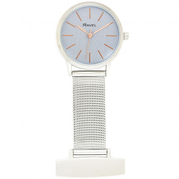 Nurse's Mesh Fob watch - Blue / Rose Gold Tone Highlights