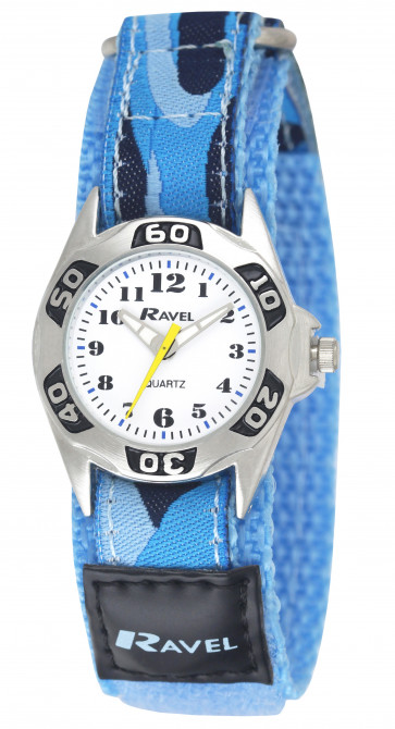 Kid's Easy Fasten Army Camo Watch - Arctic Blue / White