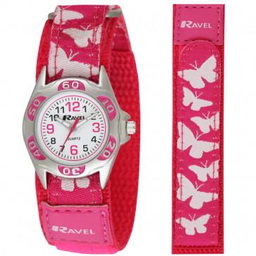 Kid's Easy Fasten Butterfly Watch - Hot Pink