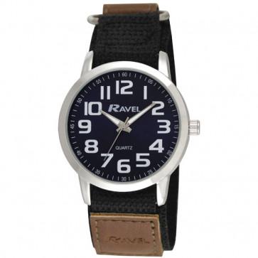 Easy Fasten Sports Watch - Black / Silver Tone / Blue