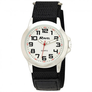 Easy Fasten Action Watch - Black / Silver Tone / White