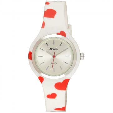 Silicone Hearts Watch - White / Red