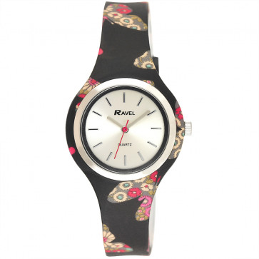 Silicone Butterfly Watch - Black / Pink