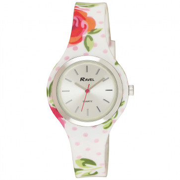 Silicone Floral Watch - White / Pink