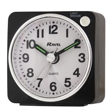 Ravel - Longford Mini Travel Alarm Clock - Black / White