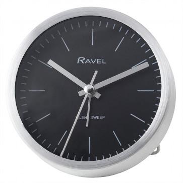 Quartz Metal Minimal Round Alarm Clock - Silver