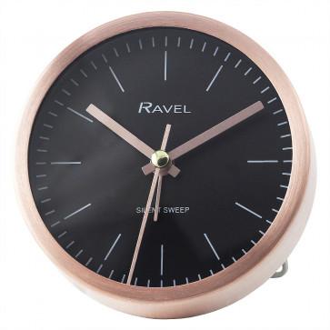 Quartz Metal Minimal Round Alarm Clock - Rose Gold