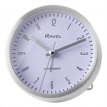 Quartz Metal Round Modern Number Alarm Clock - Silver