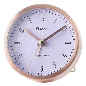 Quartz Metal Round Modern Number Alarm Clock - Rose Gold