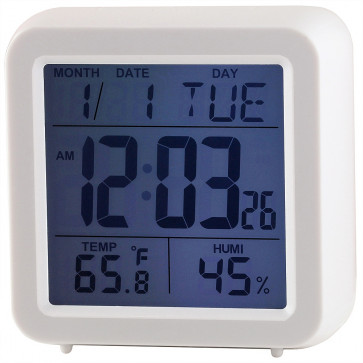 Multifunction Digital Cube Clock - White
