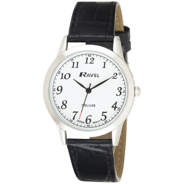 Men's Classic Leather Watch - Black / White
