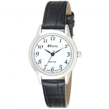Women's Classic Leather Watch - Black / White