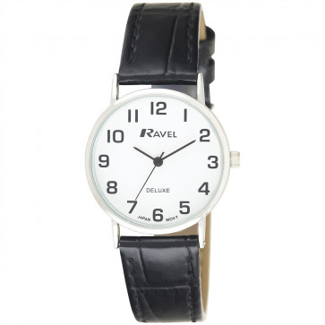Women's Classic Croc-Grain Leather Strap Watch - Black / Silver Tone / White