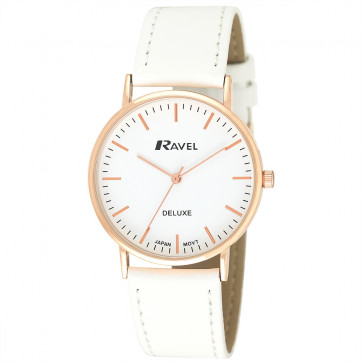 Men's Minimal Leather Watch - White / Rose Gold Tone