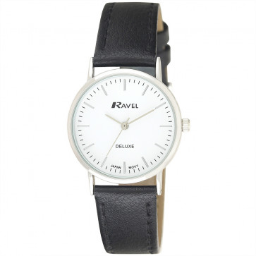 Women's Minimal Leather Watch - Black / Silver Tone / White
