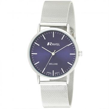 Men's Minimal Mesh Watch - Silver Tone / Blue