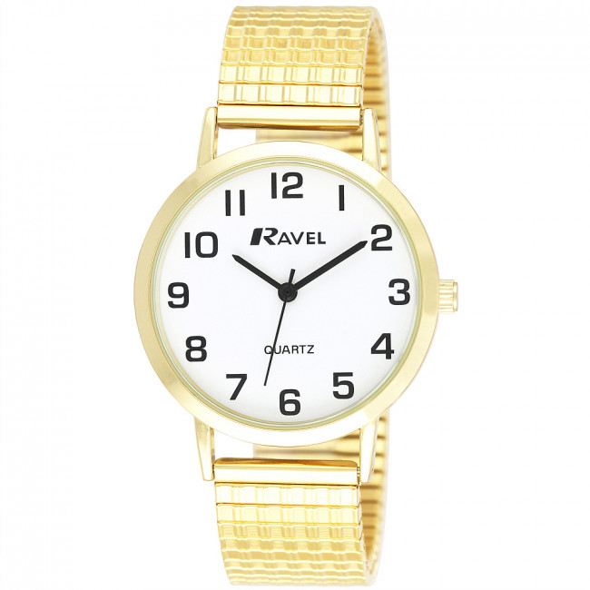Men S Traditional Expander Watch Gold Tone White