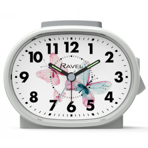 Picture Dial Alarm Clock- White/Butterfly