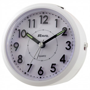 Round 3D Numbers Alarm Clock - White