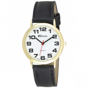 Men's Easy Read Watch - Black / Gold Tone / White