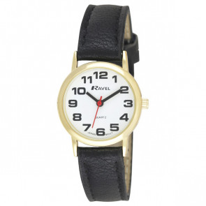 Women's Easy Read Watch - Black / Gold Tone / White