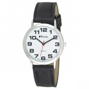 Men's Easy Read Watch - Black / Silver Tone