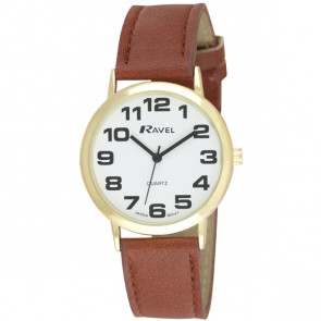 Men's Easy Read Watch - Brown / White