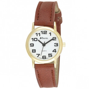 Women's Easy Read Watch - Brown / White