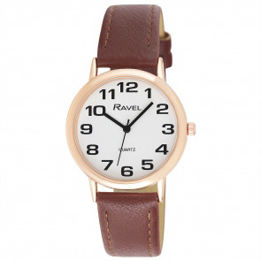 Men's Easy Read Watch - Brown / Rose Gold Tone / White