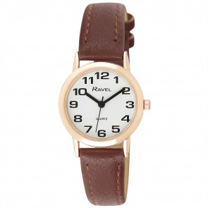 Women's Easy Read Watch - Brown / Rose Gold Tone / White