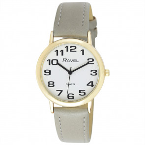 Men's Easy Read Watch - Grey / Gold Tone / White