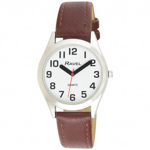 Men's Super Bold Easy Read Expander Watch - Silver Tone / Brown