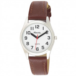 Women's Super Bold Easy Read Expander Watch - Silver Tone / Brown