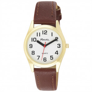Women's Super Bold Easy Read Expander Watch - Gold Tone / Brown