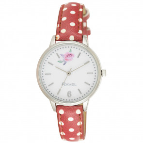 Floral Polka Dot Watch - Rosy Red