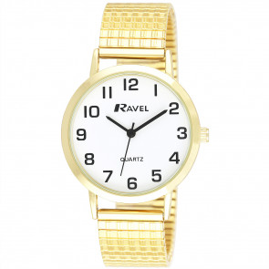 Men's Traditional Expander Watch - Gold Tone / White