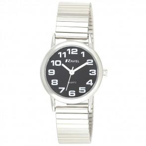 Women's Easy Read Expander Watch - Silver Tone / Black
