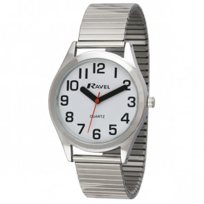 Men's Super Bold Easy Read Expander Watch - Silver Tone / White