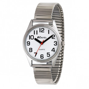 Women's Super Bold Easy Read Expander Watch - Silver Tone / White