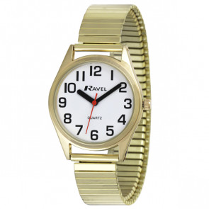 Women's Super Bold Easy Read Expander Watch - Gold Tone / White