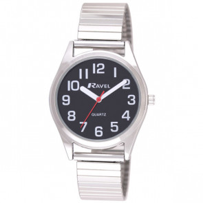 Women's Super Bold Easy Read Expander Watch - Silver Tone / Black