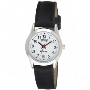 Women's Day-Date Strap Watch - Black / Silver Tone
