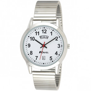 Mens Day-Date Expander Bracelet Watch - Silver Tone