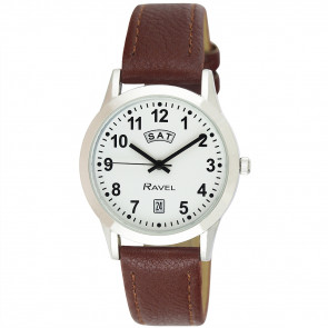 Men's Day-Date Strap Watch - Brown / Silver Tone